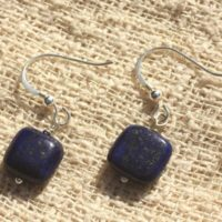 Earrings 925 Sterling Silver And Lapis Lazuli 10mm Square | Natural genuine Gemstone jewelry. Buy crystal jewelry, handmade handcrafted artisan jewelry for women.  Unique handmade gift ideas. #jewelry #beadedjewelry #beadedjewelry #gift #shopping #handmadejewelry #fashion #style #product #jewelry #affiliate #ad