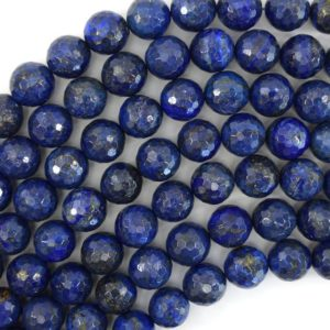 "Faceted Blue Lapis Lazuli Round Beads 15"" Strand 2mm 4mm 6mm 8mm 10mm 12mm 14mm 