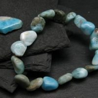 Larimar Genuine Bracelet ~ 7 Inches ~ 12mm Tumbled Beads | Natural genuine Gemstone jewelry. Buy crystal jewelry, handmade handcrafted artisan jewelry for women.  Unique handmade gift ideas. #jewelry #beadedjewelry #beadedjewelry #gift #shopping #handmadejewelry #fashion #style #product #jewelry #affiliate #ad
