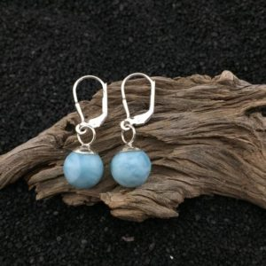 Shop Larimar Earrings! Spherical! Larimar and Sterling Silver Drop Earrings (3-2) | Natural genuine Larimar earrings. Buy crystal jewelry, handmade handcrafted artisan jewelry for women.  Unique handmade gift ideas. #jewelry #beadedearrings #beadedjewelry #gift #shopping #handmadejewelry #fashion #style #product #earrings #affiliate #ad