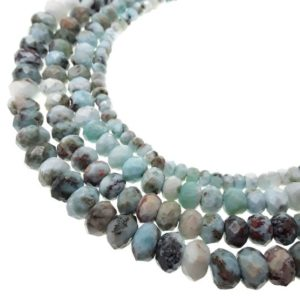 "Shop Larimar Faceted Beads! Natural Larimar Irregular Faceted Rondelle Beads 4x6mm 5x8mm 5x9mm 6x10mm 15.5"" Strand 