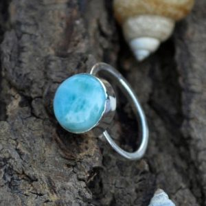 Shop Larimar Jewelry! Dominican Larimar Gemstone Ring- Handmade Artisan Ring- 925 Sterling Silver Ring- Larimar Gemstone Ring- Valentine Gift Ring- Round Larimar | Natural genuine Larimar jewelry. Buy crystal jewelry, handmade handcrafted artisan jewelry for women.  Unique handmade gift ideas. #jewelry #beadedjewelry #beadedjewelry #gift #shopping #handmadejewelry #fashion #style #product #jewelry #affiliate #ad