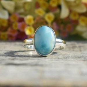 Shop Larimar Rings! Handmade Larimar Ring, 925 Sterling Silver, Oval Gemstone, Blue Color Stone, Silver Gift Ring, Can Be Personalized, Mothers Day Gift, Sale | Natural genuine Larimar rings, simple unique handcrafted gemstone rings. #rings #jewelry #shopping #gift #handmade #fashion #style #affiliate #ad