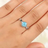Natural Larimar Ring, 925 Sterling Silver, Blue Stone, Cushion Shape Ring, Silver Ring, Bridesmaid Ring, Made For Her, Silver Ring, Gift | Natural genuine Gemstone jewelry. Buy crystal jewelry, handmade handcrafted artisan jewelry for women.  Unique handmade gift ideas. #jewelry #beadedjewelry #beadedjewelry #gift #shopping #handmadejewelry #fashion #style #product #jewelry #affiliate #ad