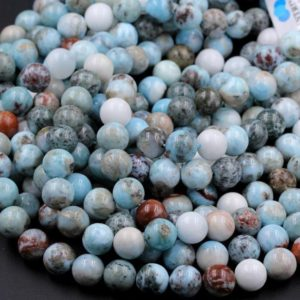 "Natural Larimar Round Beads 6mm 8mm 10mm 12mm Real Genuine Blue Larimar Gemstone W Red Iron Matrix 16"" Strand 