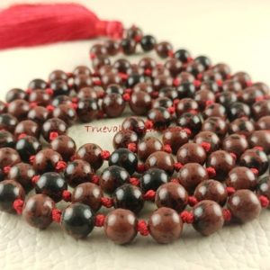 Shop Obsidian Necklaces! Mahogany Obsidian Mala Necklace, Encourages Strength, 108 Beads Hand Knotted Silk, Long Beaded Tassel Necklace, Japa Mala Beads, 3968 | Natural genuine Obsidian necklaces. Buy crystal jewelry, handmade handcrafted artisan jewelry for women.  Unique handmade gift ideas. #jewelry #beadednecklaces #beadedjewelry #gift #shopping #handmadejewelry #fashion #style #product #necklaces #affiliate #ad