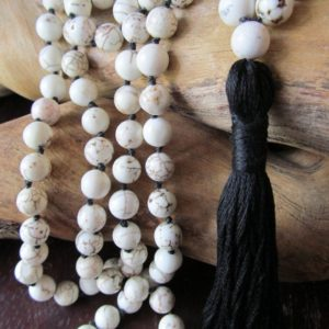 Mala Beads,  White Magnesite, 108 Mala Beads, Mala Necklace, Prayer Beads , Yoga Jewelry, Japa Mala, Meditation, Beaded Necklace, White Mala | Natural genuine Gemstone necklaces. Buy crystal jewelry, handmade handcrafted artisan jewelry for women.  Unique handmade gift ideas. #jewelry #beadednecklaces #beadedjewelry #gift #shopping #handmadejewelry #fashion #style #product #necklaces #affiliate #ad
