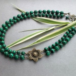 Shop Malachite Necklaces! Green Statement Necklace Malachite, Chunky Green Malachite Necklace And Bronze Flower, Necklace Two Rows, Gift For Her, Jewelry For Women. | Natural genuine Malachite necklaces. Buy crystal jewelry, handmade handcrafted artisan jewelry for women.  Unique handmade gift ideas. #jewelry #beadednecklaces #beadedjewelry #gift #shopping #handmadejewelry #fashion #style #product #necklaces #affiliate #ad