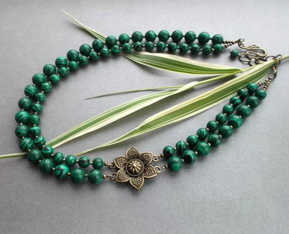 Green Statement Necklace Malachite, Chunky Green Malachite Necklace And Bronze Flower, Necklace Two Rows, Gift For Her, Jewelry For Women.