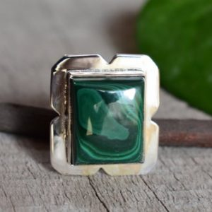 Shop Malachite Rings! 925 silver malachite ring-natural malachite ring–handmade ring-ring for women-design ring | Natural genuine Malachite rings, simple unique handcrafted gemstone rings. #rings #jewelry #shopping #gift #handmade #fashion #style #affiliate #ad