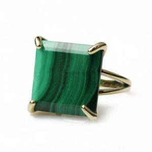 Shop Malachite Jewelry! Unique Malachite Ring · Gemstone Ring · Green Malachite Jewelry · Bridal Ring · Statement Ring · Gold Ring · Square Cut Ring · Princess Ring | Natural genuine Malachite jewelry. Buy handcrafted artisan wedding jewelry.  Unique handmade bridal jewelry gift ideas. #jewelry #beadedjewelry #gift #crystaljewelry #shopping #handmadejewelry #wedding #bridal #jewelry #affiliate #ad
