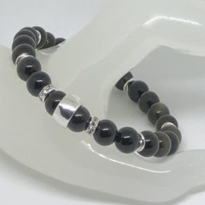 Shop Golden Obsidian Bracelets! Men's Beaded Black Golden Obsidian Sterling Silver Stretchy Bracelet | Natural genuine Golden Obsidian bracelets. Buy crystal jewelry, handmade handcrafted artisan jewelry for women.  Unique handmade gift ideas. #jewelry #beadedbracelets #beadedjewelry #gift #shopping #handmadejewelry #fashion #style #product #bracelets #affiliate #ad