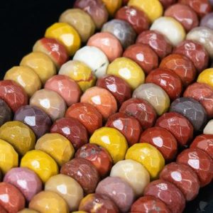 Shop Mookaite Jasper Faceted Beads! Genuine Natural Multicolor Mookaite Loose Beads Faceted Rondelle Shape 10x6mm | Natural genuine faceted Mookaite Jasper beads for beading and jewelry making.  #jewelry #beads #beadedjewelry #diyjewelry #jewelrymaking #beadstore #beading #affiliate #ad