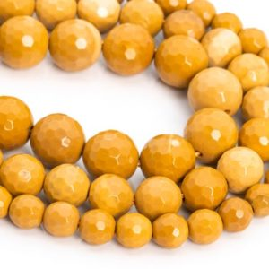 Shop Mookaite Jasper Faceted Beads! Genuine Natural Yellow Mookaite Loose Beads Micro Faceted Round Shape 6mm 8mm 10mm | Natural genuine faceted Mookaite Jasper beads for beading and jewelry making.  #jewelry #beads #beadedjewelry #diyjewelry #jewelrymaking #beadstore #beading #affiliate #ad