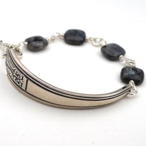 Shop Moonstone Bracelets! Spoon handle bracelet with Norwegian moonstone beads, grey, 7 3/4 inches long, fits 7 inch wrist | Natural genuine Moonstone bracelets. Buy crystal jewelry, handmade handcrafted artisan jewelry for women.  Unique handmade gift ideas. #jewelry #beadedbracelets #beadedjewelry #gift #shopping #handmadejewelry #fashion #style #product #bracelets #affiliate #ad