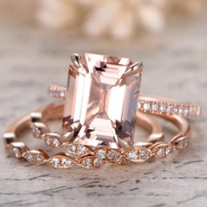 Shop Morganite Rings! 3pcs Morganite Engagement Rings Set,9×11 Emerald Cut Morganite Ring,2pcs Marquise Diamond Bands,Claw Prong,Solitaire Ring Set,Half Eternity | Natural genuine Morganite rings, simple unique alternative gemstone engagement rings. #rings #jewelry #bridal #wedding #jewelryaccessories #engagementrings #weddingideas #affiliate #ad