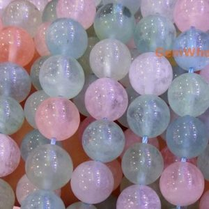 """Shop Morganite Round Beads! 15.5"""" 8mm/10mm Natural Morganite multi color Round Beads, AAA grade,half transparent semi-precious stone, milky multi color gemstone,ZGH5 