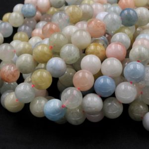 """Shop Morganite Round Beads! Natural Blue Green Aquamarine Pink Morganite Round Beads 6mm 8mm 10mm 12mm 14mm 16mm 15.5"""" Strand 