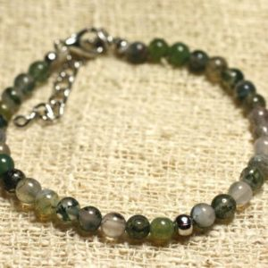 Shop Moss Agate Bracelets! 925 sterling silver and semi precious 4mm Moss Agate bracelet | Natural genuine Moss Agate bracelets. Buy crystal jewelry, handmade handcrafted artisan jewelry for women.  Unique handmade gift ideas. #jewelry #beadedbracelets #beadedjewelry #gift #shopping #handmadejewelry #fashion #style #product #bracelets #affiliate #ad