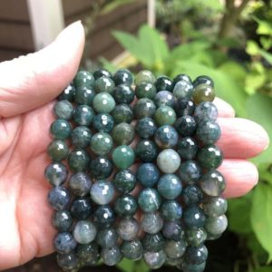 Shop Moss Agate Bracelets! Moss Agate Grounding Bracelet WS2826 | Natural genuine Moss Agate bracelets. Buy crystal jewelry, handmade handcrafted artisan jewelry for women.  Unique handmade gift ideas. #jewelry #beadedbracelets #beadedjewelry #gift #shopping #handmadejewelry #fashion #style #product #bracelets #affiliate #ad