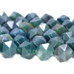 """Shop Moss Agate Beads! 8MM Green Moss Agate Beads Star Cut Faceted Grade AAA Genuine Natural Gemstone Loose Beads 7.5"""" BULK LOT 1,3,5,10 and 50 (80005156 H-M16) 