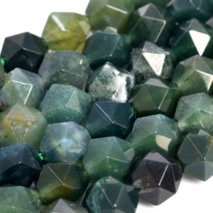 Shop Moss Agate Beads! Genuine Natural Botanical Moss Agate Loose Beads Star Cut Faceted Shape 5-6mm 7-8mm 9-10mm | Natural genuine beads Moss Agate beads for beading and jewelry making.  #jewelry #beads #beadedjewelry #diyjewelry #jewelrymaking #beadstore #beading #affiliate #ad