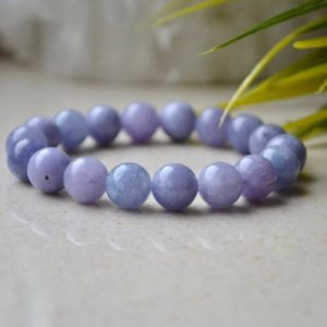 Shop Angelite Bracelets! Natural Angelite bracelet, Blue Lavender stretch gemstone bracelet, Genuine Angelite jewelry 10 mm beaded crystal bracelet – gift for Her | Natural genuine Angelite bracelets. Buy crystal jewelry, handmade handcrafted artisan jewelry for women.  Unique handmade gift ideas. #jewelry #beadedbracelets #beadedjewelry #gift #shopping #handmadejewelry #fashion #style #product #bracelets #affiliate #ad