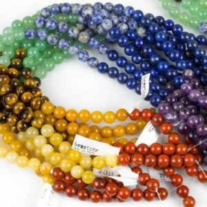Shop Chakra Beads! Natural Chakra Beads 4mm 6mm 8mm Round Gemstone Amethyst Lapis Sodalite Aventurine Tigers Eye Yellow Jade Red Jasper 15.5″ Strand | Shop jewelry making and beading supplies, tools & findings for DIY jewelry making and crafts. #jewelrymaking #diyjewelry #jewelrycrafts #jewelrysupplies #beading #affiliate #ad
