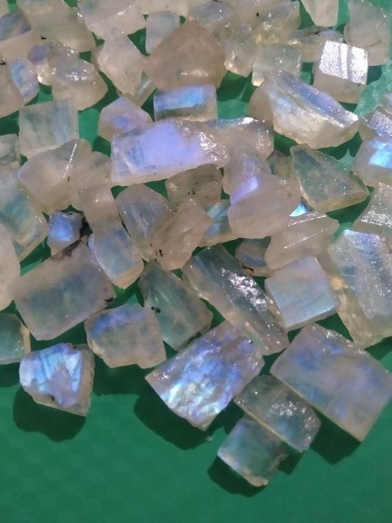 Natural Indian Rainbow Moonstone Raw Slices Rough Slices Blue Fire Super Quality Aaa+ Semiprecious Loose Gemstones Good Looking Gems Stone.