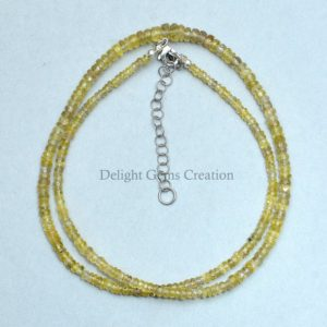 Shop Yellow Sapphire Necklaces! Natural Sapphire Beaded Necklace, 2.5mm-5mm Sapphire Faceted Rondelle Beads Necklace, Aaa++ Yellow Sapphire Beads, Beautiful Gift For Her | Natural genuine Yellow Sapphire necklaces. Buy crystal jewelry, handmade handcrafted artisan jewelry for women.  Unique handmade gift ideas. #jewelry #beadednecklaces #beadedjewelry #gift #shopping #handmadejewelry #fashion #style #product #necklaces #affiliate #ad