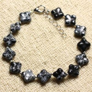 Bracelet 925 sterling silver and stone – Obsidian snowflake speckled clovers 9-10mm | Natural genuine Array bracelets. Buy crystal jewelry, handmade handcrafted artisan jewelry for women.  Unique handmade gift ideas. #jewelry #beadedbracelets #beadedjewelry #gift #shopping #handmadejewelry #fashion #style #product #bracelets #affiliate #ad