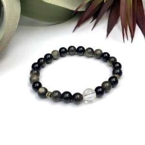 Shop Obsidian Bracelets! Genuine Natural Golden Sheen Obsidian And Quartz Bracelet – Gold Sheen – Grounding Bracelet – Gemstone Bracelet – Healing Bracelet – Chakra | Natural genuine Obsidian bracelets. Buy crystal jewelry, handmade handcrafted artisan jewelry for women.  Unique handmade gift ideas. #jewelry #beadedbracelets #beadedjewelry #gift #shopping #handmadejewelry #fashion #style #product #bracelets #affiliate #ad
