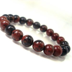 Shop Obsidian Bracelets! Mahogany Obsidian Bracelet 8mm, Natural Gemstone Bracelet, Unisex Women Men Bracelet, Beaded Bracelet | Natural genuine Obsidian bracelets. Buy crystal jewelry, handmade handcrafted artisan jewelry for women.  Unique handmade gift ideas. #jewelry #beadedbracelets #beadedjewelry #gift #shopping #handmadejewelry #fashion #style #product #bracelets #affiliate #ad