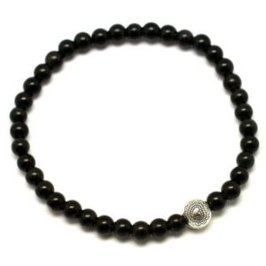 Shop Obsidian Bracelets! Semi precious 4mm black obsidian and silver Bead Bracelet | Natural genuine Obsidian bracelets. Buy crystal jewelry, handmade handcrafted artisan jewelry for women.  Unique handmade gift ideas. #jewelry #beadedbracelets #beadedjewelry #gift #shopping #handmadejewelry #fashion #style #product #bracelets #affiliate #ad