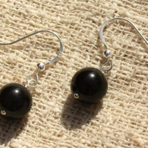 Shop Obsidian Earrings! Earrings 925 sterling silver and obsidian black 10mm | Natural genuine Obsidian earrings. Buy crystal jewelry, handmade handcrafted artisan jewelry for women.  Unique handmade gift ideas. #jewelry #beadedearrings #beadedjewelry #gift #shopping #handmadejewelry #fashion #style #product #earrings #affiliate #ad