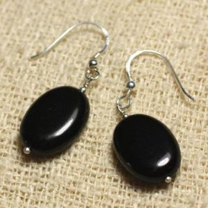 Shop Obsidian Earrings! 925 Sterling Silver earrings – Obsidian black oval 18x13mm | Natural genuine Obsidian earrings. Buy crystal jewelry, handmade handcrafted artisan jewelry for women.  Unique handmade gift ideas. #jewelry #beadedearrings #beadedjewelry #gift #shopping #handmadejewelry #fashion #style #product #earrings #affiliate #ad