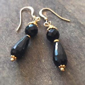 Shop Onyx Earrings! Black Earrings – Onyx Gemstone Jewellery – Yellow Gold Jewelry – Dainty – Simple – Everyday | Natural genuine Onyx earrings. Buy crystal jewelry, handmade handcrafted artisan jewelry for women.  Unique handmade gift ideas. #jewelry #beadedearrings #beadedjewelry #gift #shopping #handmadejewelry #fashion #style #product #earrings #affiliate #ad