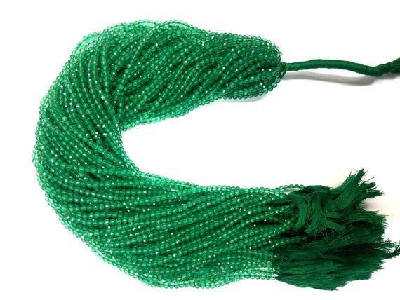 10 Strand Of 13 Inch Natural Faceted Green Onyx Rondelle Beads 3mm Loose Gemstone Beads Micro Cut Superb Quality