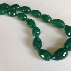 Shop Onyx Bead Shapes! 12x15mm – 15x24mm Green Onyx Faceted Drop Beads, Green Onyx Straight Drill Drops, Natural Green Onyx Necklace (6IN To 12IN Options) – ANG28 | Natural genuine other-shape Onyx beads for beading and jewelry making.  #jewelry #beads #beadedjewelry #diyjewelry #jewelrymaking #beadstore #beading #affiliate #ad