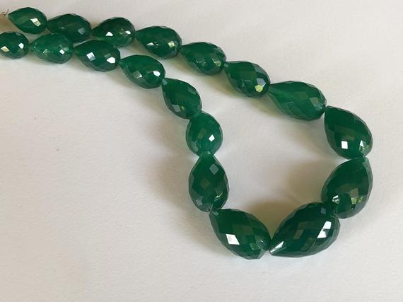 12x15mm - 15x24mm Green Onyx Faceted Drop Beads, Green Onyx Straight Drill Drops, Natural Green Onyx Necklace (6in To 12in Options) - Ang28