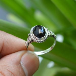 Shop Onyx Jewelry! Natural Black Onyx Ring, Oxidized Ring, 925 Silver Rings, 7×9 mm Oval Onyx Ring, Silver Jewelry, Women Rings, Black Onyx Ring, Gemstone Ring | Natural genuine Onyx jewelry. Buy crystal jewelry, handmade handcrafted artisan jewelry for women.  Unique handmade gift ideas. #jewelry #beadedjewelry #beadedjewelry #gift #shopping #handmadejewelry #fashion #style #product #jewelry #affiliate #ad