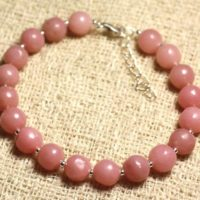 Bracelet 925 Sterling Silver And Gemstone – Opal Pink 8 Mm | Natural genuine Gemstone jewelry. Buy crystal jewelry, handmade handcrafted artisan jewelry for women.  Unique handmade gift ideas. #jewelry #beadedjewelry #beadedjewelry #gift #shopping #handmadejewelry #fashion #style #product #jewelry #affiliate #ad