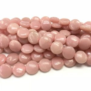 Natural Pink Opal 10mm Flat Round Genuine Coin Beads 15 Inch Jewelry Supply Bracelet Necklace Material Support Wholesale | Natural genuine other-shape Gemstone beads for beading and jewelry making.  #jewelry #beads #beadedjewelry #diyjewelry #jewelrymaking #beadstore #beading #affiliate #ad