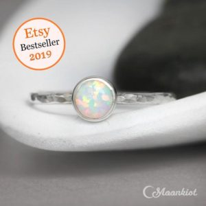 Shop Opal Jewelry! Opal Promise Ring, Sterling Silver Opal Ring, Simple Opal Ring, Opal Gemstone Ring, Gift For Her | Moonkist Designs | Natural genuine Opal jewelry. Buy crystal jewelry, handmade handcrafted artisan jewelry for women.  Unique handmade gift ideas. #jewelry #beadedjewelry #beadedjewelry #gift #shopping #handmadejewelry #fashion #style #product #jewelry #affiliate #ad