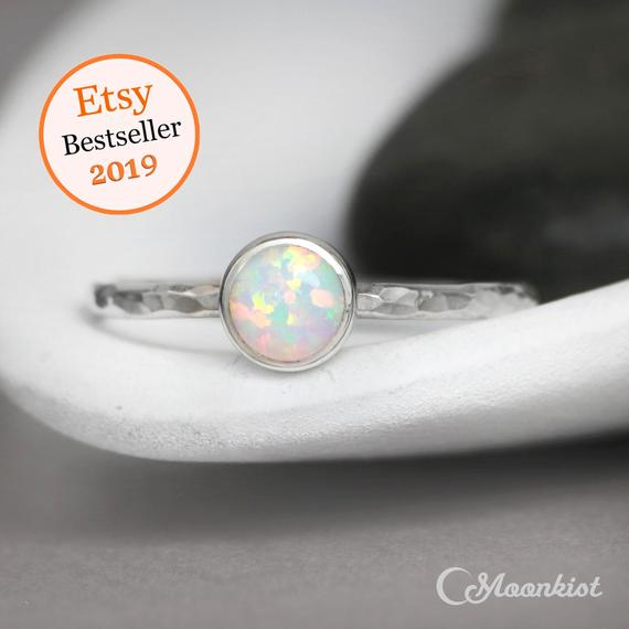 Opal Promise Ring, Sterling Silver Opal Ring, Simple Opal Ring, Opal Gemstone Ring, Gift For Her | Moonkist Designs