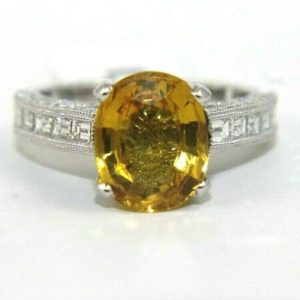 Shop Yellow Sapphire Rings! Oval Yellow Sapphire & Diamond Baguette Solitaire Ring 18k White Gold 4.92Ct   Natural genuine Yellow Sapphire rings, simple unique handcrafted gemstone rings. #rings #jewelry #shopping #gift #handmade #fashion #style #affiliate #ad