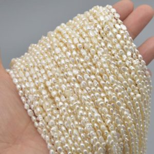 "Shop Gemstone Chip & Nugget Beads! High Quality Grade A Natural Freshwater Baroque Seed Nugget Keshi Pearl Beads – White – approx 3mm – 4mm – approx 14"" strand 