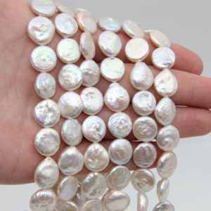 Shop Pearl Bead Shapes! 12~13mm AAA Coin Pearl Beads,White Pearls,Freshwater Coin Pearl Coin Beads,Genuine Pearl Beads,Wedding Pearl,Pearl Strand,Loose Pearl Beads. | Natural genuine other-shape Pearl beads for beading and jewelry making.  #jewelry #beads #beadedjewelry #diyjewelry #jewelrymaking #beadstore #beading #affiliate #ad