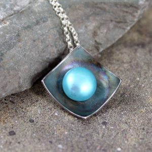 FALL SAVINGS Pearl Pendant – Sterling Silver – Robin's Egg Blue Fresh Water Pearl – Organic Gemstone Necklace – Rustic Modern Jewellery – Ju | Natural genuine Pearl pendants. Buy crystal jewelry, handmade handcrafted artisan jewelry for women.  Unique handmade gift ideas. #jewelry #beadedpendants #beadedjewelry #gift #shopping #handmadejewelry #fashion #style #product #pendants #affiliate #ad