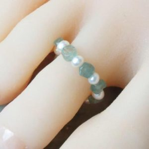 Shop Pearl Rings! Pearls and Aqua Aura Healing Stone Toe Ring! | Natural genuine Pearl rings, simple unique handcrafted gemstone rings. #rings #jewelry #shopping #gift #handmade #fashion #style #affiliate #ad